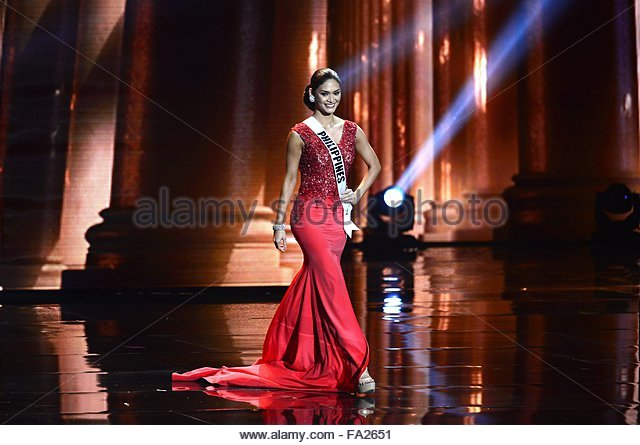 epa05073137 Miss Philippines Pia ALonzo Wurtzbach participates during the evening fashion gown contest for the 2016 - Stock Image