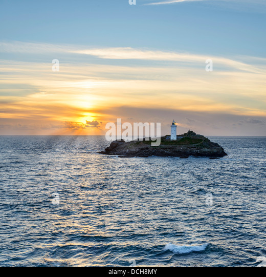 Sunset At Godrevy Island - Stock Image