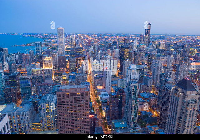 USA Illinois view of Chicago and lake Michigan from the John Hancock tower - Stock Image