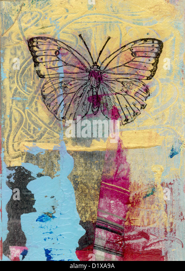 Mixed medium art work of a butterfly. Gel medium transfer on acrylic. - Stock Image