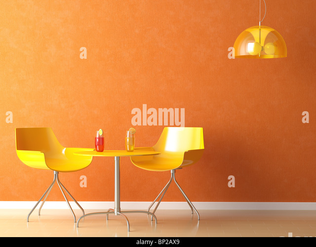 3D render scene of a modern coffee-shop table and chair in orange and yellow colors - Stock-Bilder