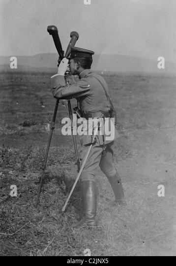 Prince Regent looks through Army Field Periscope - Stock Image