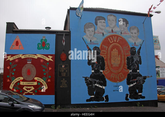 Belfast Unionist, Loyalist Murals, UVF C-Company,1st Battalion Wadsworth,McIntyre,McGregor,Chapman,Hannah - Stock Image