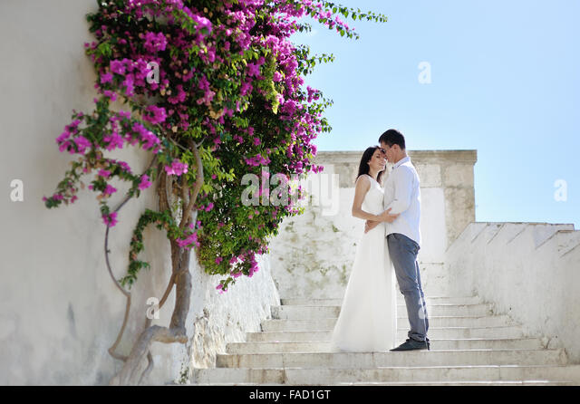 beautiful romantic couple in honeymoon in Sperlonga, Italy - Stock Image