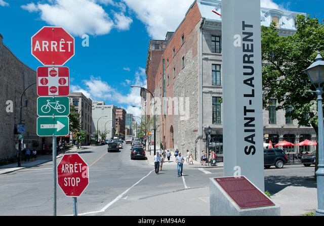 Canada. Province of Quebec, Montreal. Old town. Saint Laurent Boulevard - Stock Image