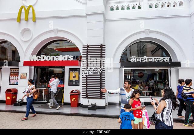 Mumbai India Asian Lower Parel High Street Phoenix mall inside shopping McDonald's fast food restaurant front - Stock Image