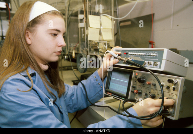New Jersey Rutgers University student researcher behavior neural science lab oscilloscope female - Stock Image