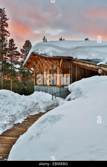 Snow-covered Fritz Hut, Benedict Huts, near Aspen, Colorado USA - Stock Image