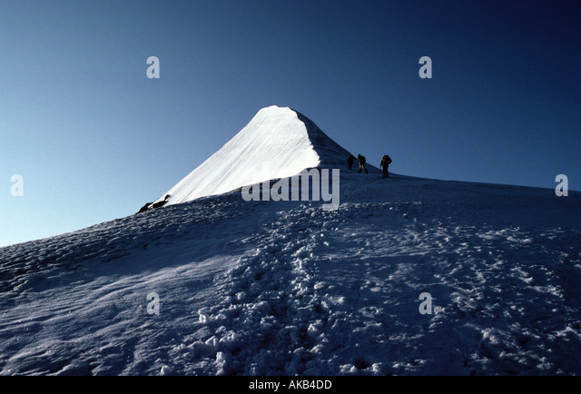 Nearing the summit ridge of the Hohe Wilde, Ötztal Alps, Austria - Stock Image