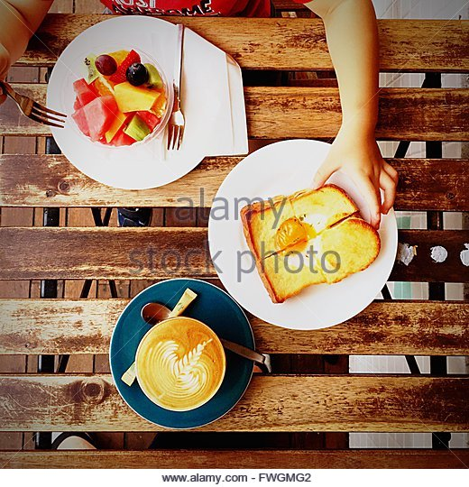 Mom And Son Eating Breakfast - Stock Image