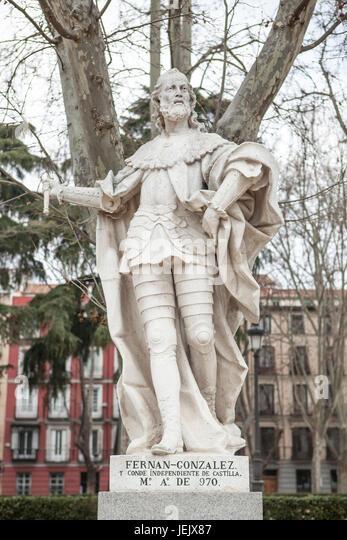 Madrid, Spain - february 26, 2017: Sculpture of Fernan Gonzalez of Castile at Plaza de Oriente, Madrid. He was the - Stock Image