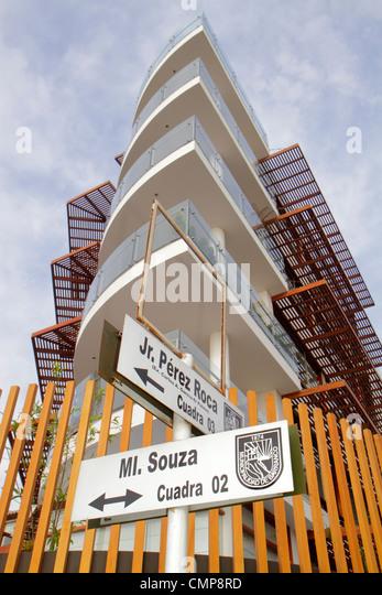 Peru Lima Barranco District Malecon Souza oceanfront Edificio Mistral building condominium flats housing modern - Stock Image