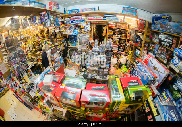 The interior of  'The Albatross' traditional old-fashioned  toy, hobby  and model shop, Aberystwyth Wales - Stock Image