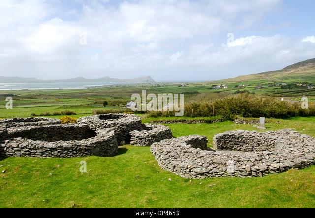 Cathair Deargain strone fortress on the famous Slea Head Drive, Dingle Peninusla, Ireland. - Stock Image