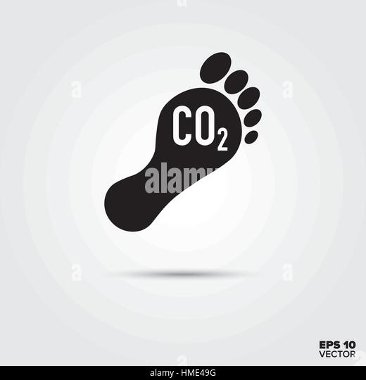 Carbon footprint vector Icon. Environmental Damage and Global Warming Symbol. - Stock Image