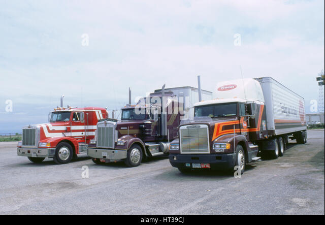 American Trucks at Truckstop in USA. Artist: Unknown. - Stock Image