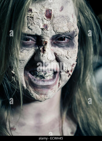 Zombie - Halloween costume with impressive special effects  makeup. - Stock Image
