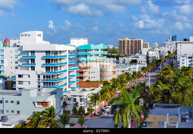 Ocean Drive looking north from 1st Street, South Beach, Miami Beach, Florida, USA - Stock Image