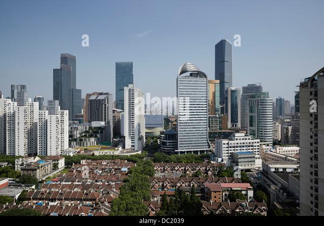 High angle view of Shanghai city, China - Stock Image