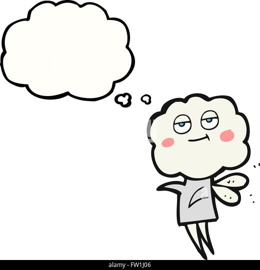 freehand drawn thought bubble cartoon cute cloud head imp - Stock-Bilder