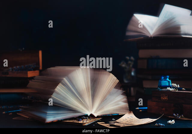 Reading room with open window - Stock Image