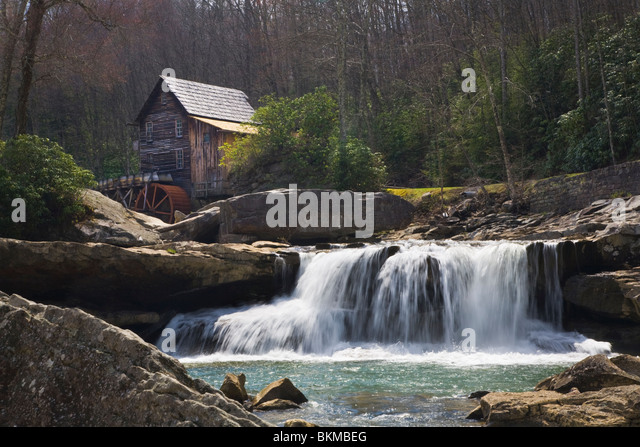 The Glade Creek Grist Mill in Babcock State Park West Virginia in early spring season - Stock Image