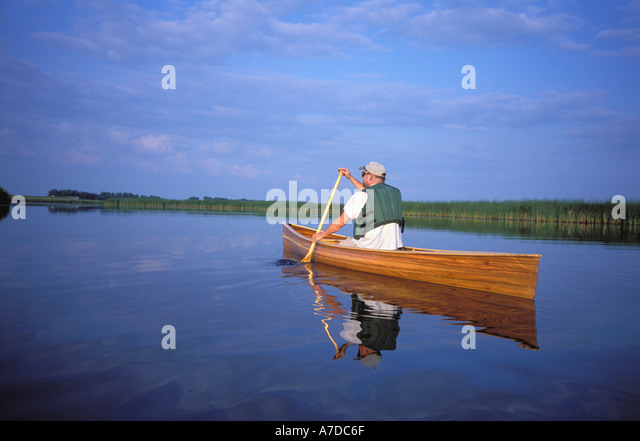 Canoeing in a wetland North Dakota MR - Stock Image