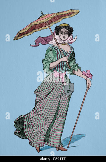 Europe. French lady. 17th century. Baroque. costume. Later colouration. - Stock-Bilder
