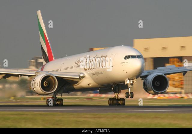 Emirates Boeing 777-21H/ER at London Heathrow Airport - Stock Image