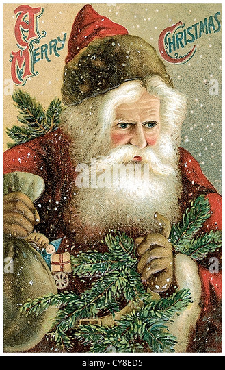 Santa Claus shows bag - Stock Image