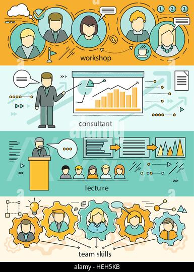 Banner set workshop and team skills. Business education, consulting and educational lectures. Team skills work. - Stock-Bilder