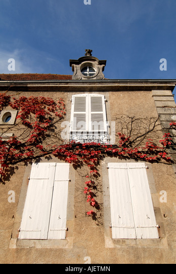 Window shutters, Montmorillon, Vienne, France. - Stock Image