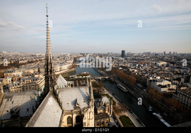 View from Notre Dame Cathedral roof, Paris, France, Europe - Stock Image