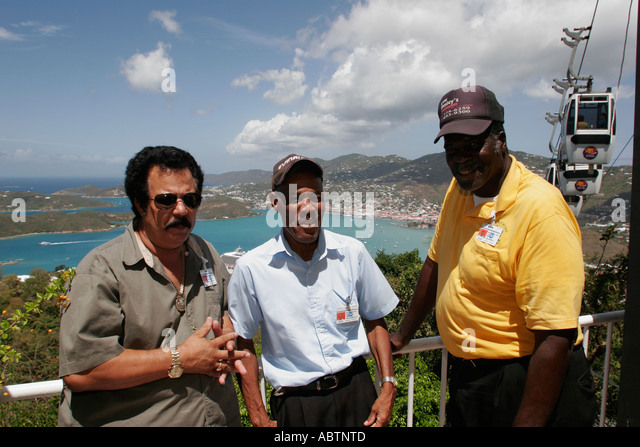 St. Thomas USVI Paradise Point tour guides Charlotte Amalie Harbor Caribbean Sea Skyride - Stock Image