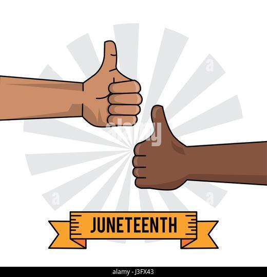 juneteenth celebration hand black and white thumb up - Stock-Bilder