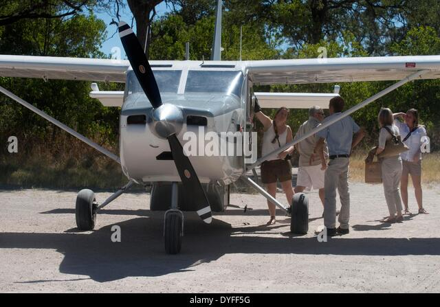 Internal flights in light aircraft CESNA between different camps in Botswana. ACROSS THE CAPRIVI , one of the best - Stock Image