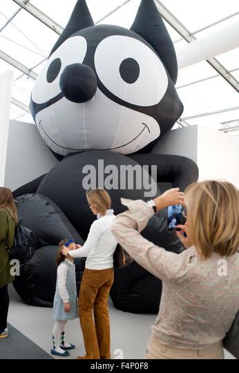 Frieze Art Fair  London. 2015. Mark Leckey's gigantic Felix the Cat at the Galerie Buchholz, - Stock Image
