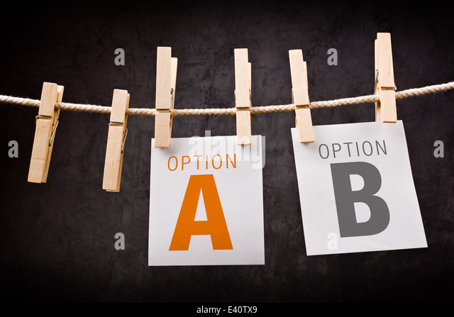Option A or Option B, concept of choice and strategic planning - Stock Image