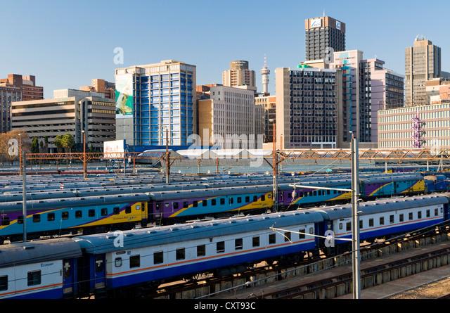 Johannesburg skyline, station, Johannesburg, Gauteng, South Africa, Africa - Stock Image