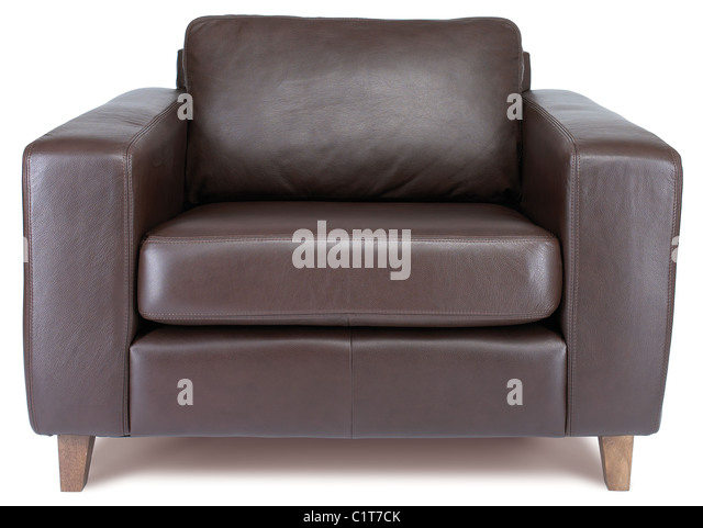 a brown leather armchair isolated on white with clipping path - Stock Image