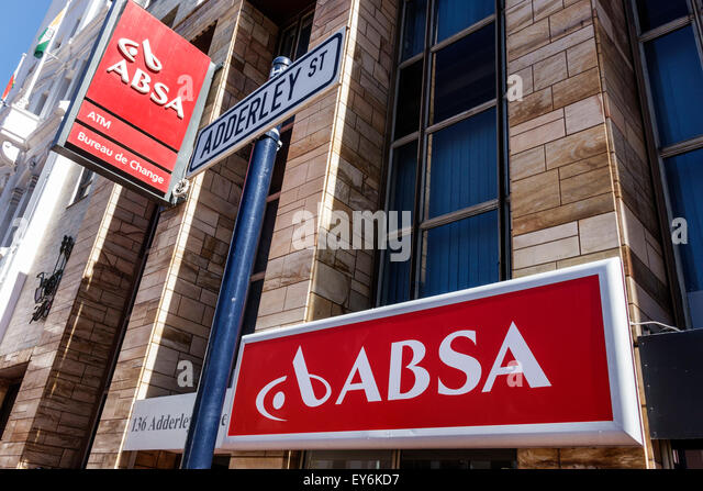 South Africa African Cape Town City Centre center Adderley Street ABSA bank sign - Stock Image