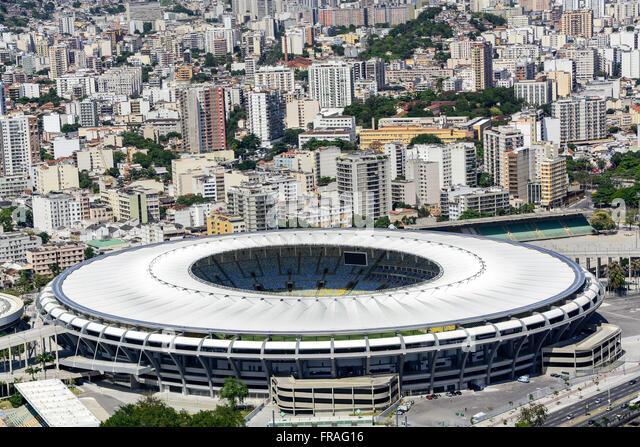 Estadio do Maracana Stadium with Athletics Celio de Barros right - Stock Image