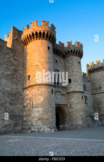 The Palace of the Grand Masters, Old town in Rhodes, Dodecanese Islands, Greece, UNESCO - Stock Image