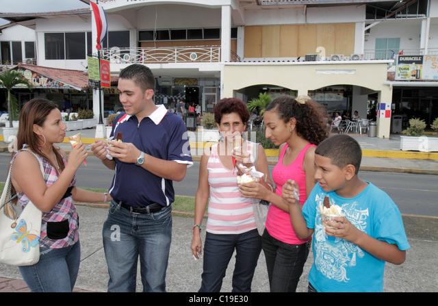 Panama City Panama Amador Causeway Calzada de Amador Bahia de Panama Panama Canal Isla Perico ice cream dessert - Stock Image