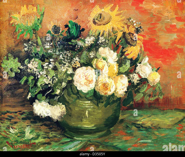 Vincent van Gogh, Still Life with Roses and Sunflowers. 1886. Post-Impressionism. Oil on canvas. Stadtische Kunsthalle, - Stock Image