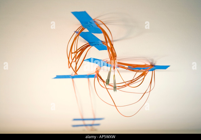 fiber cable abstract internet orange blue white design - Stock Image