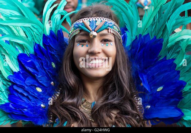 Berlin, Germany may 15, 2016: Beautiful girl in costume smiling on  Carnival of Cultures in Berlin, Germany. - Stock-Bilder