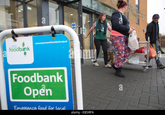 Epsom and Ewell Foodbank, food donations for families suffering from financial difficulty, Surrey, England, UK - Stock Image