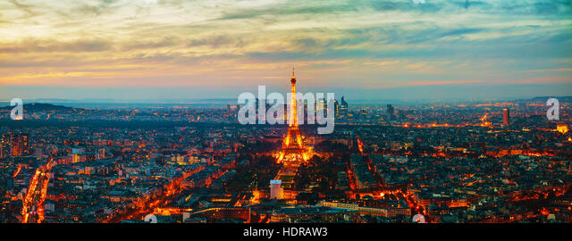 PARIS - NOVEMBER 1: Cityscape with the Eiffel tower aerial view on November 1, 2016 in Paris, France. - Stock Image