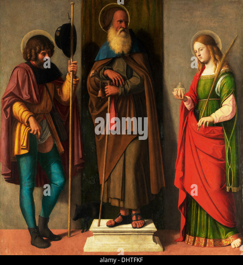 Three Saints: Roch, Anthony Abbot, and Lucy - by Cima da Conegliano, 1513 - Stock Image